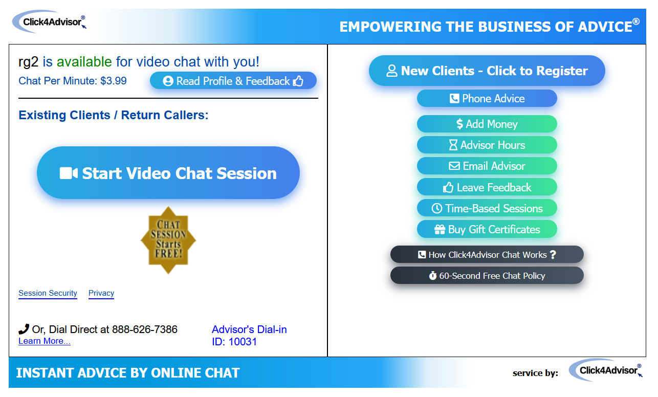 Click4Advisor Chat Service Pop-Up Page
