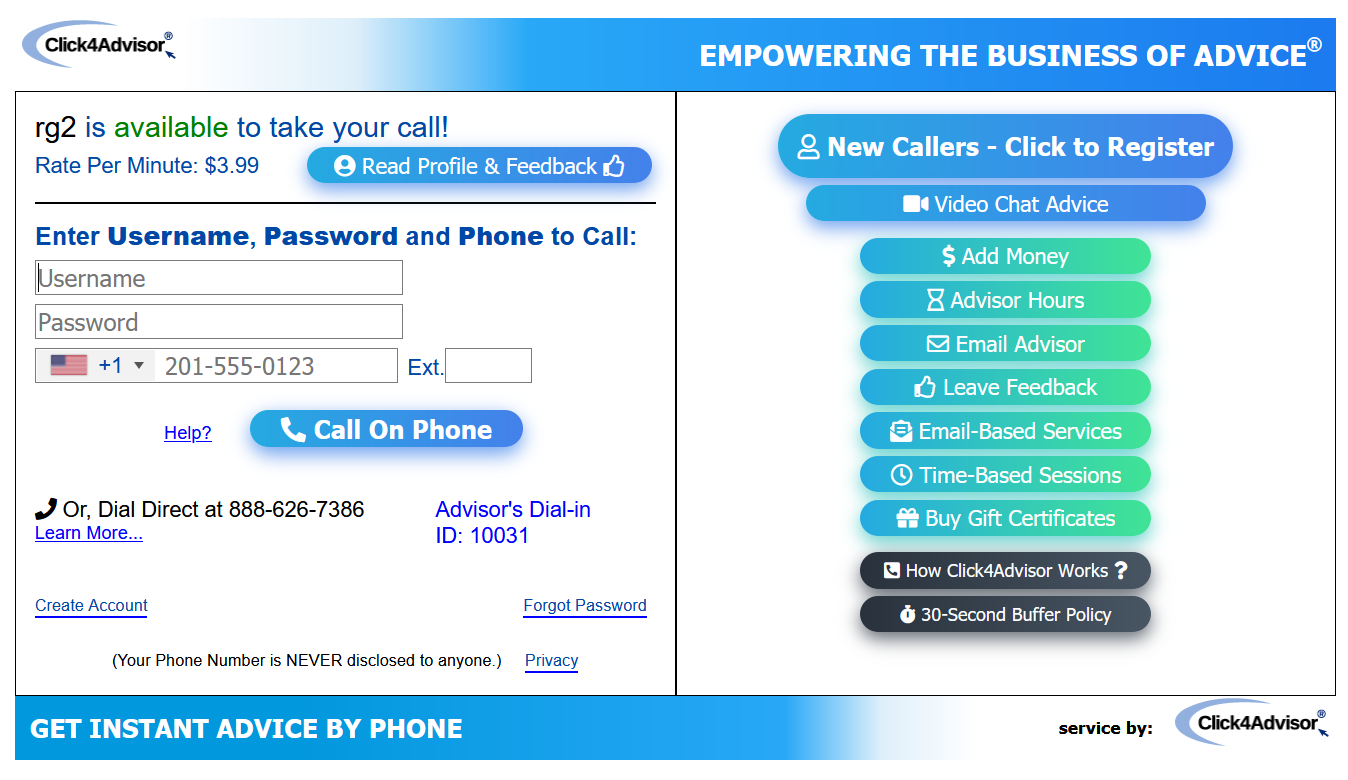Click4Advisor Phone Service Pop-Up Page